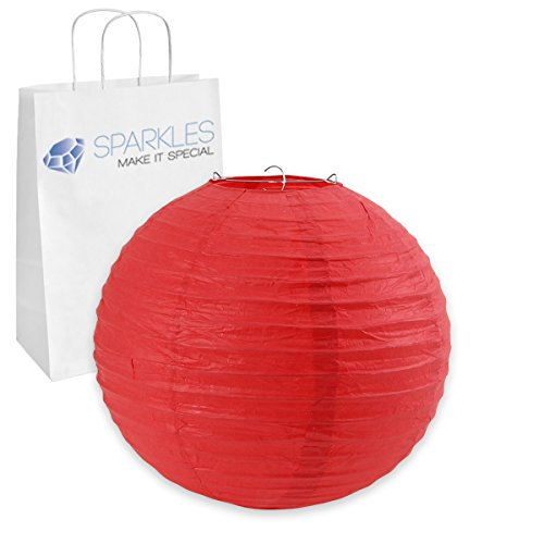 "Sparkles Make It Special 14"" inch Chinese Paper Lantern - Red - Wedding Party Event Decoration - 13 Colors and 8 Sizes Available"