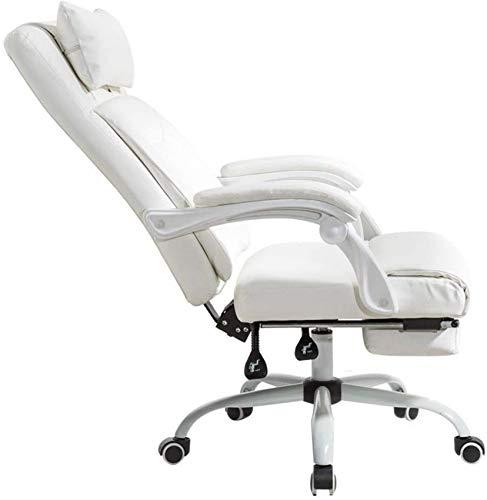 JFFFFWI Silla de Carreras de Escritorio para computadora con diseño de Respaldo Doble reclinable Ejecutivo 135 & deg;Diseño inclinable con reposapiernas extendido y sillón reclinable PU Blanco Relá