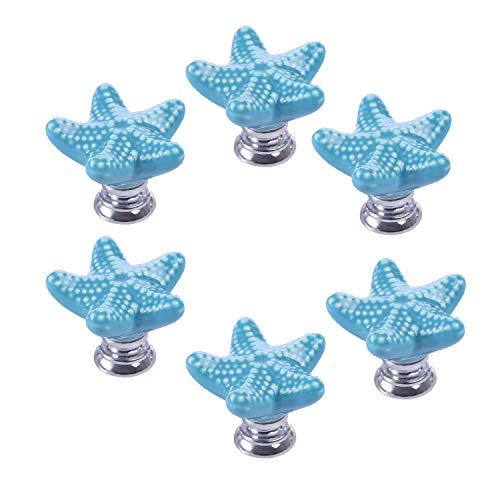 ZILucky Starfish Ceramic Drawer Pulls Handles for Nursery Dresser Cupboard Wardrobe Cabinet Kitchen Beach Ocean Theme Knobs Pack of 6 (Blue)
