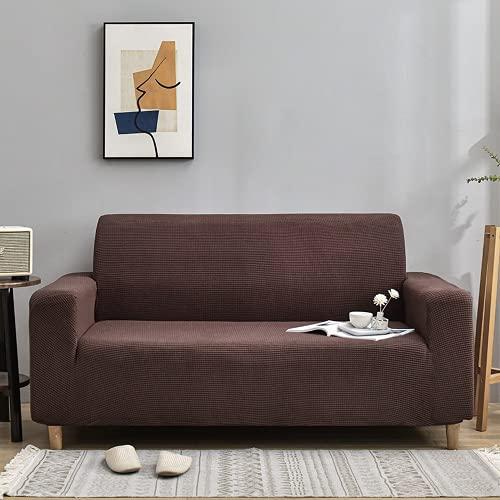 ABUKJM Stretch Universal Sofa überzug 1/2/3/4-Sitzer, Polarfleece Jacquard Sofaüberwurf, Wohnzimmerschutz Couch überzug für Ledersofa, Pflegeleicht (Coffee,3 Seater 190x230cm)