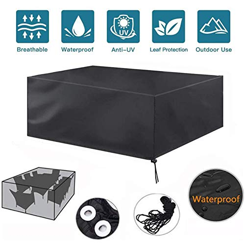 Tuinmeubelen Covers 210D Heavy Duty Oxford Stof winddicht waterdicht Anti-AV Cube Outdoor Patio tafel dekken, winddicht en anti-UV Patio Set Cover Rechthoekige,155×95×68 cm/61×37×26