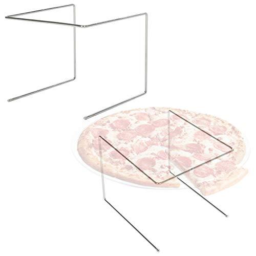 Set of 2 Metal Pizza Pan Riser Stands, Tabletop Food Platter Tray Display Racks, Silver