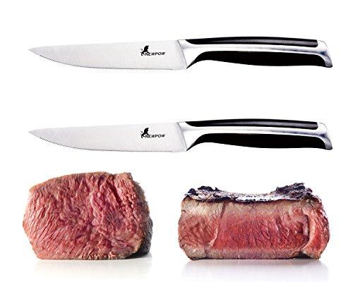 Steak Knives Set 2-Piece Newpow Serrated Sharp Steak Knife German Stainless Steel Steak Knives Dishwasher Safe - SGS FDA Certification