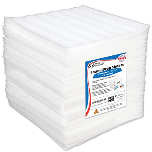 "50 Pack Mighty Gadget (R) Premium Protection 12"" X 12"" X 1/8"" Moving Supplies Packing Foam Sheets (White)"