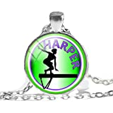 Collar con colgante de gimnasia rítmica, gimnasia, foto de joyería de cristal, cabujón colgante collar deportivo amantes regalos