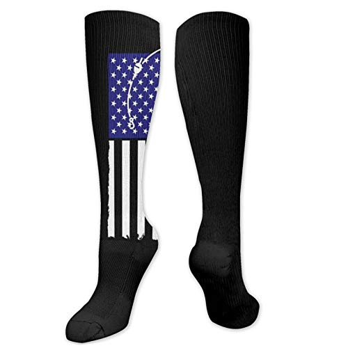American Fishing Rod & Hook Flag Winter High Footless Socks Insulated Boot Thermal Socks Long Leg Warmers Knee High Women Men Casual Novelty Best for Running Hiking Athletic Flight Travel