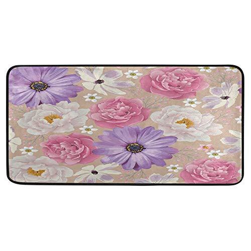 Alfombra de cocina con diseño de peonías de color de primavera, alfombra de baño, antideslizante, para baño, interior, 99 x 50 cm