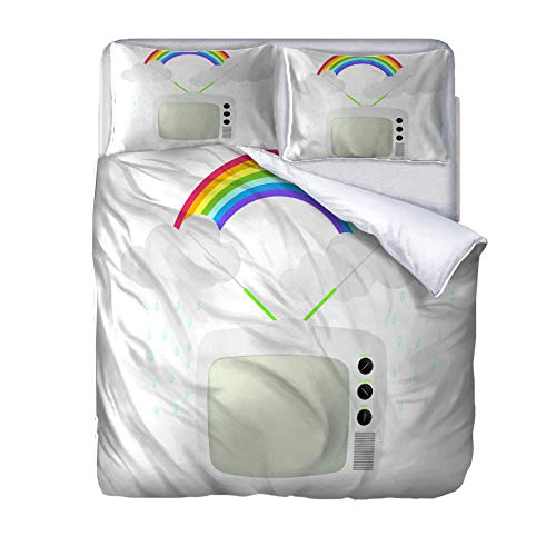 Single bedding duvet set Rainbow and TV duvet cover 140x200cm with Zipper Closure and Pillow Cases Bedding Set Ultra Soft Hypoallergenic Microfiber Quilt Cover Sets