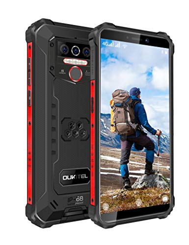 OUKITEL WP5 Pro (2020) Rugged Smartphone, 8000mAh Battery 4GB +64GB Android 10 Unlocked Cell Phones IP68 Waterproof 4G LTE Dual SIM Triple Camera 5.5 HD+ Global Version Face ID Fingerprint GPS (Black)