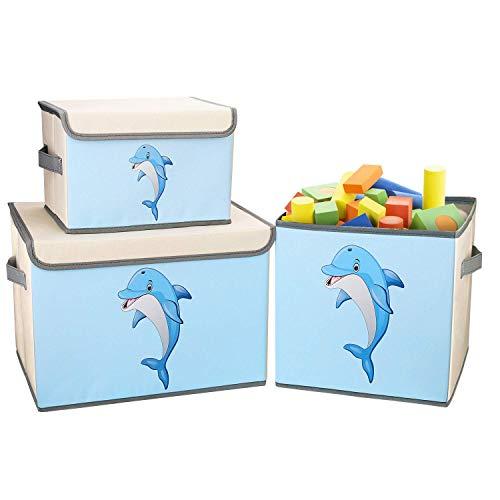 DIMJ Aufbewahrungsbox Kinder mit Deckel, 3 StückGroße Kapazität Faltbar Aufbewahrungsboxen Aufbewahrungsbox mit Griffe für Kinderzimmer für Bücher, Kleidung, Spielzeug, (Delfin)