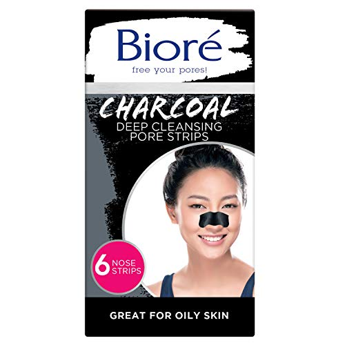 Bioré Charcoal, Deep Cleansing Pore Strips, Nose Strips for Blackhead Removal on Oily Skin, with Instant Blackhead Removal and Pore Unclogging, 6 Count, Features Natural Charcoal, 3x Less Oil