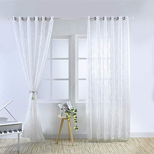 DAPAIZI Home Decorations Semi Transparent Curtain Voile Panels Back Eyelet Curtains Voile Sheer Curtains for Window Two Panels. (White,2x W40 x79(100 * 200cm))