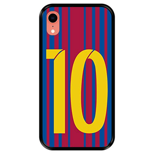 Hapdey Funda Negra para [ Apple iPhone XR ] diseño [ Ilustración fútbol, número 10 ] Carcasa Silicona Flexible TPU
