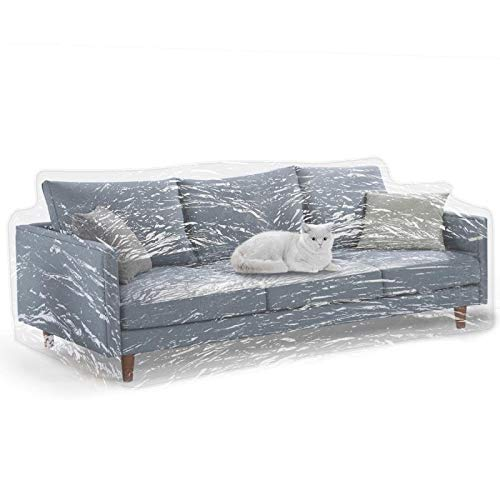 KEBE Clear Thicker Couch Cover for Pets, Heavy Duty Cat Scratch Sofa Cover for Protection Against Cat Dog Clawing, Waterproof Plastic Shield Covers for Couch, Sofa Slipover for Storage and Moving