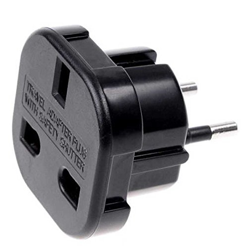 Adaptador de Enchufe de UK a Enchufe Europeo Negro, Cablepelado