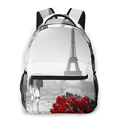 Popsastaresa Mochila para adolescentes, hombres, mujeres, paquete de almacenamiento,Copa de vino Rose Paris Paint, Mochila para portátil de viaje para estudiantes de escuela informal de negocios