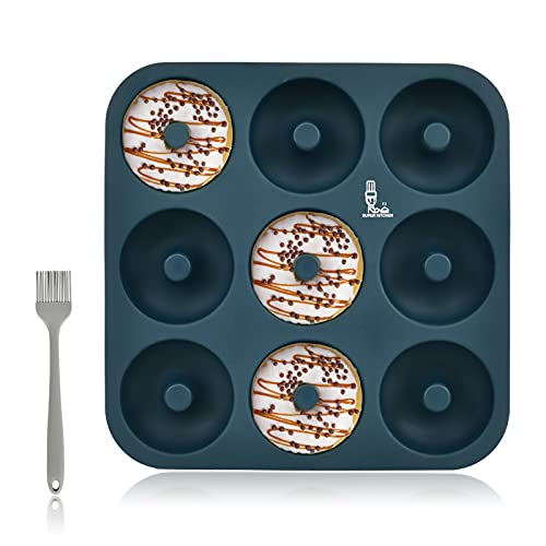 SUPER KITCHEN Large Silicone Doughnut Mould 9 Cavity Mold with Pastry Brush, Non-Stick Doughnut Tray Donut Pan, Bagel Baking Tin, Muffin Cupcake Donut Maker, Bakeware (28x28x3cm, NavyBlue)