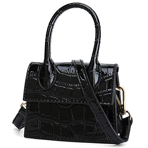 CATMICOO Mini Purse for Women, Mini Bag with Crocodile Pattern (Black crocodile pattern)
