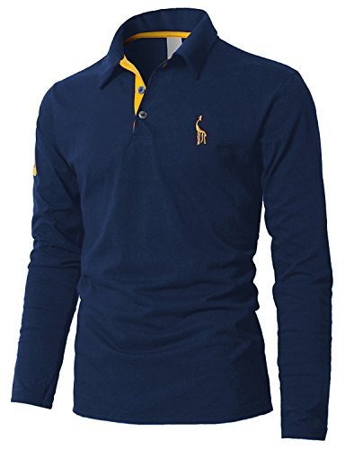 Boom Fashion Polo Homme Manches Longues Vintage Broderie T-shirt Mince Fit Tops,Bleu 1,Large