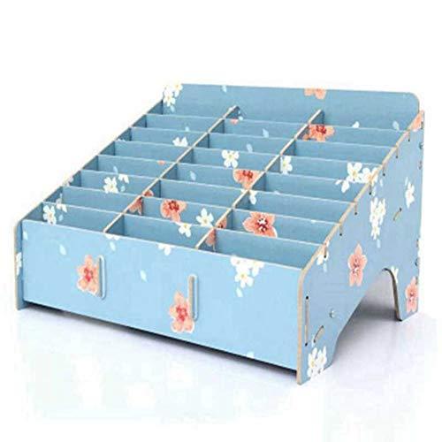 QWET Holz 24 Aufbewahrungsfächer Multifunktionale Aufbewahrungsbox, für Handyhalter, Schreibtischzubehör,Orchid