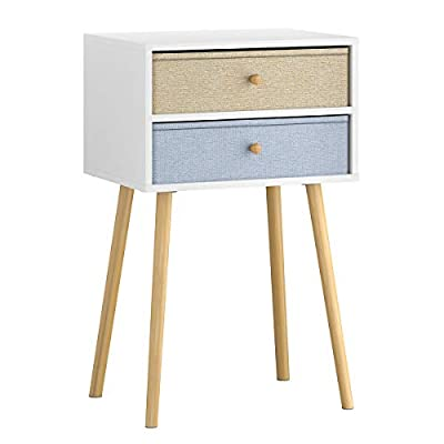LANGRIA Bedside Table Nightstand End Table with Fabric Storage Drawer Pine Wooden Table for Bedroom Study and Fashion 15.7 x 11.7 x 22.4 inches