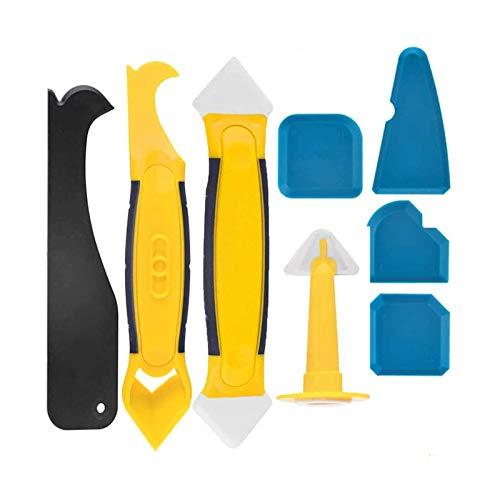 TACKTIMES Silikonentferner 8 in 1 Set Silikonabzieher mit Dichtung Werkzeug und Caulk Düse für Küche Bad Boden Fliesen (Tippe 2)