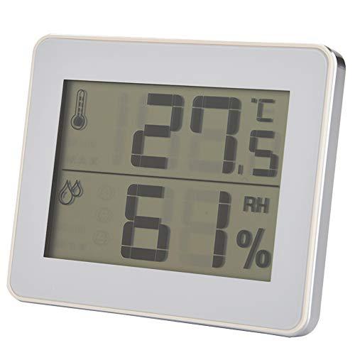 Cosiki Termómetro; Humidómetro de plástico Ligero ° F / ° C; Higrotermógrafo Digital para Uso prolongado(White)