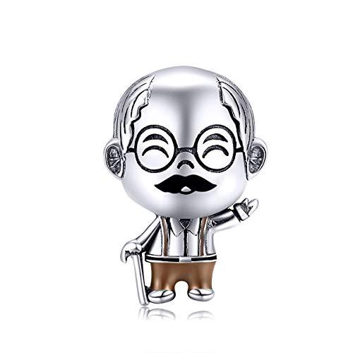 Ciondolo per nonno, in argento Sterling 925, compatibile con braccialetti Pandora