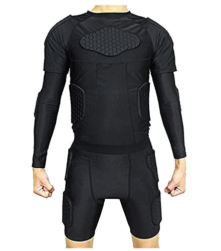YANGLIXIA Männer Schutzanzüge Gepolsterte Kompression Anti-Collision-Shirt Shorts Ellbogen 4-teiliger Beschützer Set für Fußball Paintball Hockey Baseball Black-XXL