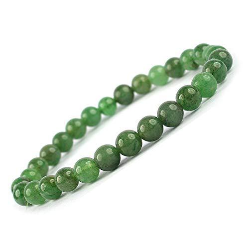 Presenta Sataanreaper Aventurina Verde Pulsera De 6 Mm De Grano Redondo De Cristal Curativo - Piedra Chakra Pulsera para Unisex (Color: Verde) Sr_68