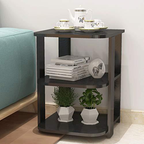 Table Basse Table de Travail Étagère Salon Fleur Canapé Table d'appoint Bureau Bureau Bois Noir (Couleur : Noir)