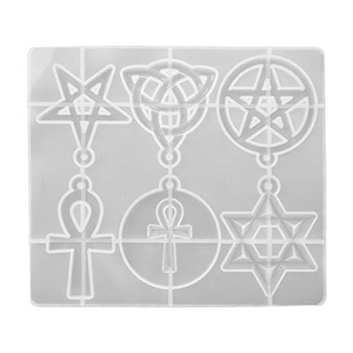 ULTNICE Forma de estrella de silicona y resina de resina irlandesa, diseño celta, tribal celta, ancla, cruz, resina de resina de moldeo, para joyas, manualidades, llavero, adorno