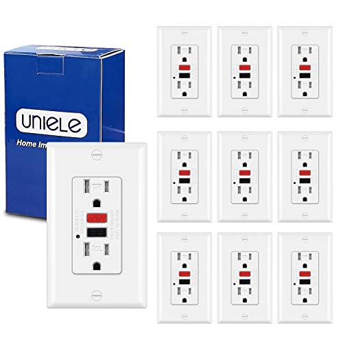 (10 Pack) UNIELE GFCI Receptacle Outlet, 15 Amp Tamper-Resistant(TR) Ground Fault Circuit Interrupter GFI Outlets with LED Indicator, Wallplate Included, White