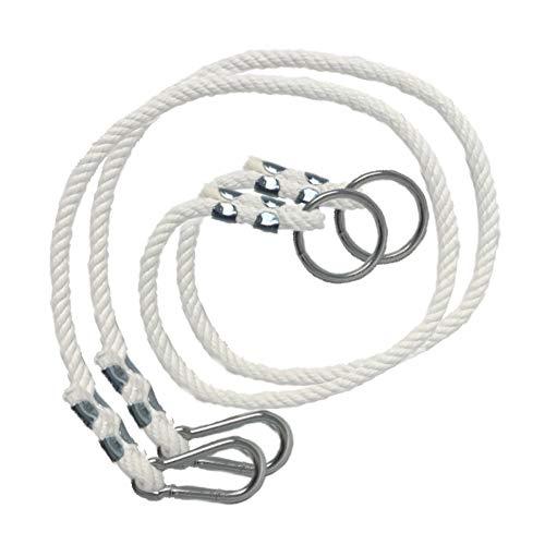 Schaukel Seil 100kg | 2 x Schaukelseil Verlängerung mit Metall Schaukelhaken Karabiner | Natürliche Seil mit Karabiner | 100{fe086b22f37b008d9a5d841b1cd0ca2994fb98f1c38a24c7f5f6819ee13ed6b3} ECO | Made in EU (Seil - 1m)