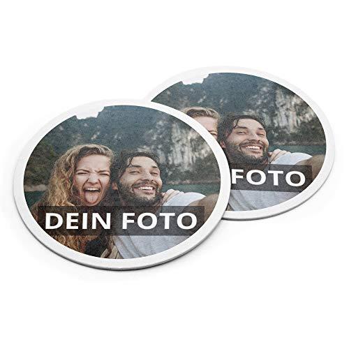PhotoFancy® – Bierdeckel mit Foto personalisiert - Personalisierbare Bierdeckel Bedrucken (Pappe, 50er Set)