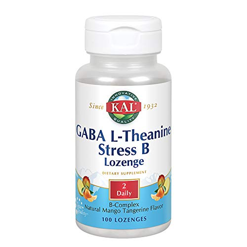 KAL GABA L-Theanine Stress B Lozenge   Healthy Relaxation, Mood & Focus Support   Natural Mango Tangerine Flavor   100ct