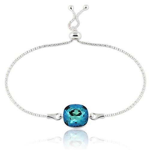 Crystals & Stones Einstellbar Armband *SQUARE* *VIELE FARBEN* - Armband aus 925 Silber mit original Swarovski® Elements - Wundervolles Armband Mutter Frau Geschenk mit Schmuckbox (Bermuda Blue)