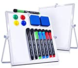 Magnetic Dry Erase White Board- 2 Pack 10'X10' Portable Whiteboard with Stand, 8 Markers, 4 Magnets, 2 Erasers- Desktop Double-Sided White Board Easel for Kid Drawing Memo to Do List Wall Desk School