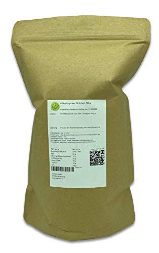 Vollmilchpulver 26 % Fett 750 g ideal für den Vorrat, getrocknete Milch, vielseitig