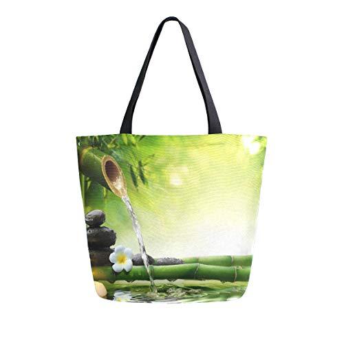 Hunihuni Bolsa de lona con diseño de flores japonesas de bambú y piedras de zen, bolsa de compras reutilizable grande para mujer y niña