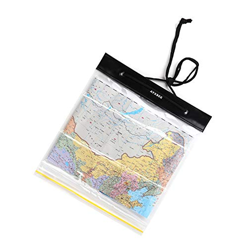 WILD FINDING Waterproof Map Case Holder, Watertight Map Carrier, Transparent Dry Bag Protector Pouch for Camping, Hiking, Documents, Electronics, Emergency, Outdoors
