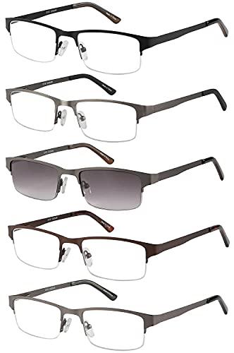 Eyecedar Amcedar 5-pack occhiali da lettura Uomo Mezza Cornice Stile Acciaio Inossidabile Materiale Metallo Primavera Cerniere Compresi Lettura Occhiali da sole +3.00