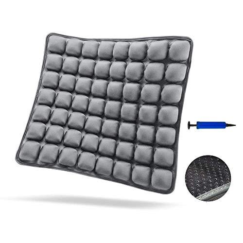 SUNFICON Cojín inflable para silla de aire,antideslizante, cómodo cojín ortopédico para el coxis para silla de oficina, asiento de coche, silla de ruedas, alivia el dolor de espalda ciática