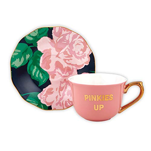 Creative Brands Slant Collections - Ceramic Tea Cup and Saucer Set, 5-Ounce, Pinkies Up
