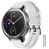 NotoCity para Garmin Vivoactive 3 Correa, Banda de Repuesto de Silicona Suave de 20 mm para Garmin Forerunner 245 / Samsung Gear Sport/Galaxy Watch 42 mm(S,Blanco)