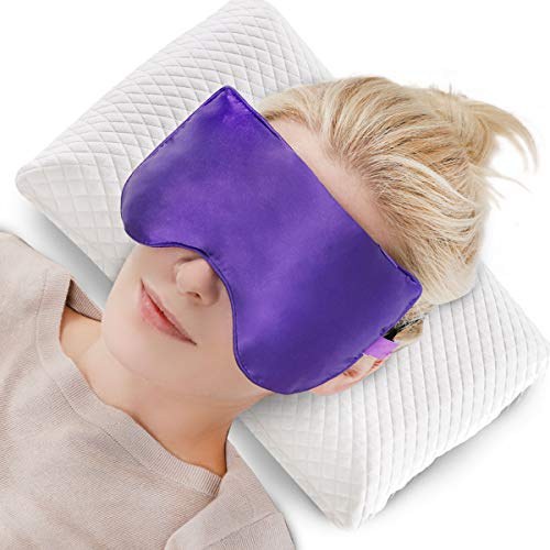 Lavender Heated Eye mask Weighted Sleep mask Pillow Microwave for Sleeping Chamomile flaxseeds Ilk Yoga, Meditation, for Women Soft Cold & hot Compress Comfortable Light Blocking Spa Scented Purple