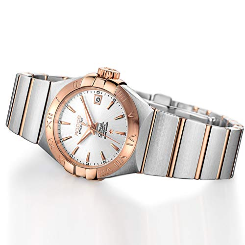 Women's Automatic Wrist Watch ROCOS Rose Gold Dress Watch with Stainless Steel and White Dial Ladies Crystal Analog Watches Luxury Classic Elegant #R1101L (White)
