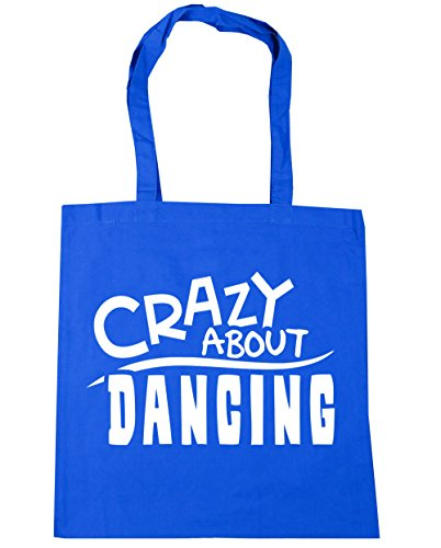 HippoWarehouse Crazy About Dancing Tote Shopping Gym Beach Bag 42cm x38cm,...