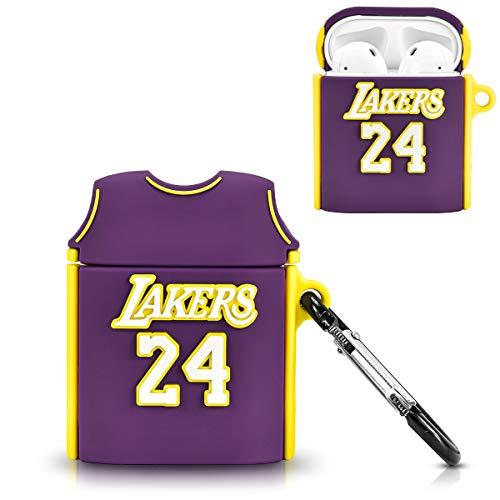DLseego Silikonhülle Kompatibel mit Airpods 1und2, Niedliche Cartoon 3D Cool Basketball-Shirt Design Cover für Teen Girls Jungen Modische Stilvolle lustige Hülle mit Schlüsselb& für Airpods 1und2-Lila