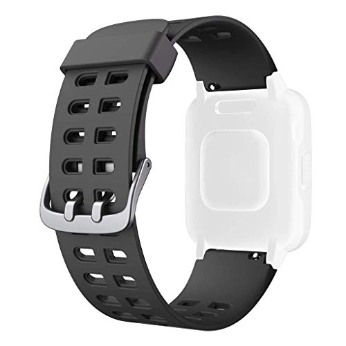 AISOO Cinturino di Ricambio per ID205L, Durevole e Morbido Cinghie in Silicone Sostituzione Strap (23mmm) Compatibile con Smart Watch Bracelet ID205, ID205L, ID205S Universale (Nero)